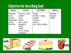 Describing food and meals 2/5 - Adjectives for describing food
