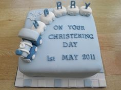 boys train and carriages cake christening/baptism.cakeebakey, via Flickr.