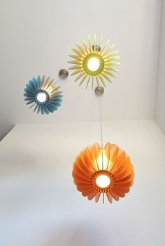 Quarterium Double dipped lights - lime green, blue and orange. Made from Australian Hoop Pine. By Mutating Creatures