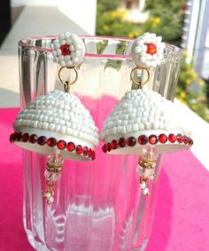 Quilling jhumkas in Red n white
