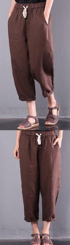 new brown loose linen pants elastic waist crop pants