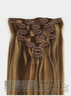 8PCS Clip In Human hair extensions Mixed Color #4/#27 Straight