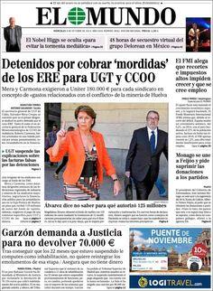 Los Titulares y Portadas de Noticias Destacadas Españolas del 9 de Octubre de 2013 del Diario El Mundo ¿Que le pareció esta Portada de este Diario Español?