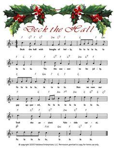 Deck the Hall link to printable Christmas sheet music Xmas Songs, Christmas Lyrics, Christmas Sheet Music, Noel Christmas, Christmas Paper, Christmas Pictures, Christmas Projects, Vintage Christmas, Miniature Christmas