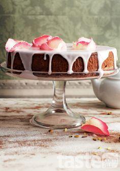 Lemon-frosted pistachio cake with mint tea.