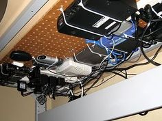 Manage Computer Cords Mount A Basket Under The Desk To