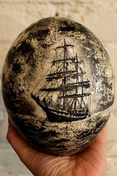Stone Fleet | Classic Maritime Scrimshaw Ostrich Egg by LeviathanBell, $780.00 | Leviathan Bell is inspired by a love of open water, uncharted territories, and the legacy of America's sailor-artists.