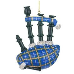 Scottish Bagpipes Resin Ornament - Blue