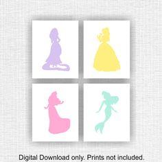 Princess Wall Art princess cinderella wall art purple set 6 prints, baby girl