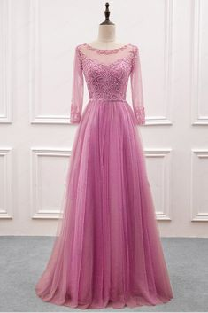 2019 spring long customize A-line beaded senior prom dress with sleeves 59ae00bd316f