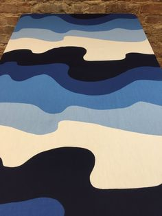 Tablecloth with white blue navy blue azure waves by SiKriDream