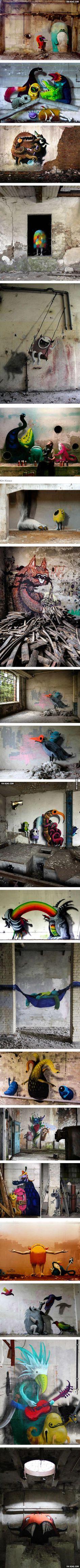 Artist Hides Monster Murals Inside Abandoned Buildings In Berlin (By Kim Kwacz)