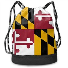 OuO Bag Maryland State Flag Street Bundle Backpack Print School Rucksack *** Learn more by visiting the image link. (This is an affiliate link) Yoga Strap, Types Of Yoga, Maryland, Drawstring Backpack, Image Link, Flag, Backpacks, 3d, Street