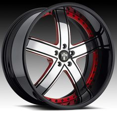 custom red and black rims center with red accents and polished black - Red Ford Explorer Black Rims