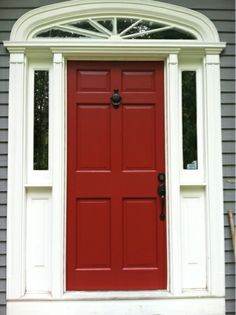 Blue House White Trim And Red Door In Elmhurst Opal