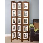 5.4 ft. Walnut (Brown) 3-Panel Room Divider