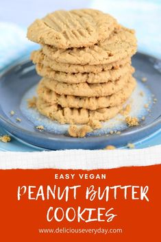 These vegan peanut butter cookies are so rich and buttery, you'll never believe they're vegan and gluten-free. Plus, they're easy to make with just a few simple ingredients. Gluten Free Peanut Butter Cookies, Vegan Gluten Free Desserts, Vegan Dessert Recipes, Easy Desserts, Cookie Recipes, Recipes Dinner, Easy Holiday Recipes, Christmas Recipes, Christmas Baking