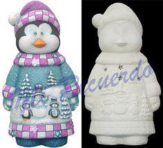 1725 Pingüino Paisaje Pottery Painting, Ceramic Painting, Christmas Clay, Xmas, Snowmen, Penguins, Christmas Decorations, Santa, Ceramics