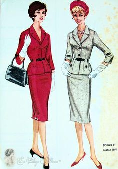 1960 Hannah Troy Suit Dress Pattern Fitted Longer Jacket Nipped In Waist Pencil Slim Skirt McCalls 5509 Bust 33 UNCUT