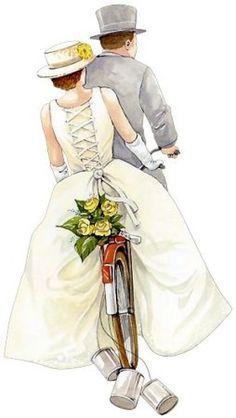 bride and groom on bicycle Wedding Illustration, Illustration Art, Illustrations, Wedding Art, Wedding Images, Wedding Clip, Wedding Couples, Wedding Pictures, Vintage Pictures