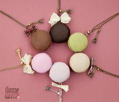 Macaron Pendant / Food Miniature Jewelry / Dollhouse by Ilianne Bow Necklace, Cute Jewelry, Handmade Necklaces, Macarons, Dollhouse Miniatures, Polymer Clay, Jewelery, Jewelry Making, Prompt