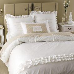 Parure de lit en coton blanche 220 x 240 cm | Maisons du Monde