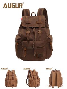 Visit to Buy  AUGUR New Brand Fashion Men s Backpack Leisure Retro Canvas  Bag Women 2a5c102c30cdf