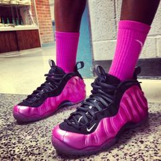 I shouldn't like these but I really do. Only issue-can I get them in something other than pink or purple! Nike Air Foamposite One #nike #foamposite #sneakers