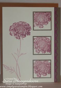 Stamp Set: Field Flowers Card Stock: Soft Suede, Rich Razzleberry & Very Vanilla Classic Stampin Pad: Rich Razzleberry Punches: 1 3/8 Square, 1 1/4 Square & Scallop Trim Border