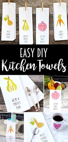 These DIY Kitchen Towels are so easy to make with iron-on material! Such a fun decoration or gift idea!