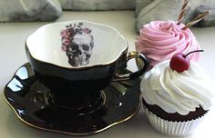 """snootyfoxfashion: """"Skull Teacup and Saucer from AngiolettiDesigns """" Viktorianischer Steampunk, Gold Skull, Skulls, Black Gold Jewelry, Vintage Plates, Cute Mugs, Cup And Saucer Set, High Tea, Safe Food"""