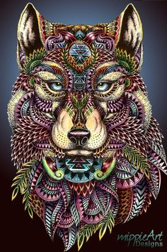"Instagram Art Featuring Page on Instagram: ""Mandala Wolf Beautiful ..."