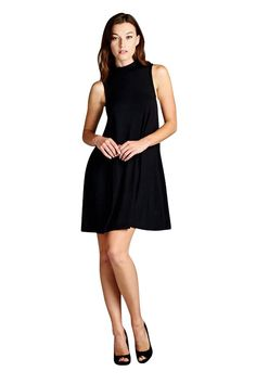 ce71b9aee9 Women s Mock Neck Sleeveless Casual Tank Mini Dress at Amazon Women s  Clothing. A pair of