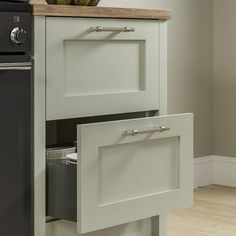 Pale enough to work as a neutral, the sage green tone of these sturdy, 20mm-thick doors makes a great choice for those that want a subtle style with plenty of country character. Choose from a wide variety of cupboards, such as larder units, which can keep cooling devices hidden from view to help maintain an uninterrupted design. Shaker Style Doors, Shaker Doors, Painted Drawers, Painted Doors, Kitchen Doors, Cupboard Doors, Sage Green Kitchen, Larder Unit, Mdf Doors