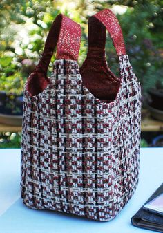 Ms Money Penny Red Chenille Plaid Knitting Project Tote by dafoxx