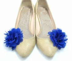 Nice Shoe Clips  / Blue Chiffon Shoe Flowers by HANDMADESHOECLIPS, $14.00