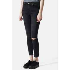 Topshop Moto 'Leigh' Ripped Skinny Jeans ($70) ❤ liked on Polyvore