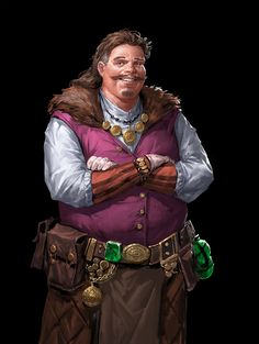 m npc Merchant Light Armor Cloak Potion Belt Underdark Traveler story lg Fantasy Heroes, Fantasy Races, Fantasy Rpg, Medieval Fantasy, Fantasy Artwork, Fantasy Portraits, Dungeons And Dragons Characters, Dnd Characters, Fantasy Characters