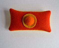 lavender sachet made of felt, orange and yellow felt lavender sachet, coworkers gift, arty hostess gift, bright dresser decor, lavender