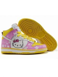55f09b9ddbdf Nike Dunk High Hello Kitty White and Pink Shoes Nike Outfits