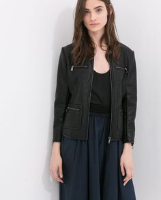 FAUX LEATHER JACKET WITH JEWEL COLLAR from Zara