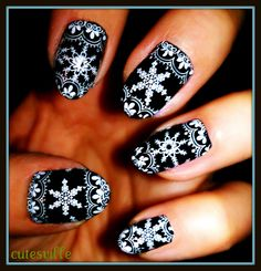 Black and White Christmas nails