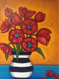 """4 ft x 3.5 x feet on canvas with painted 1.5"""" sides. Original painting by Shelagh Duffett. $900. For more info or to purchase, contact: ShelaghDuffett@gmail.com All rights Reserved Copyright 2016 Red Tulips"""