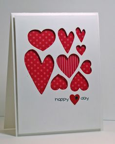 Cute, fun card - Valentines Day, anniversary, wedding - lots of applications for this!  Love that one heart has different paper!