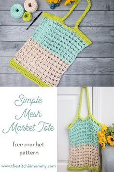Simple Mesh Market Tote - Free Crochet Pattern