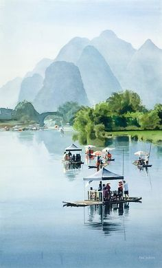"""Bamboo Rafting to Shangri La"" Watercolor Canvas Print travel destinations 2019 - Travel Photo Rafting, Places Around The World, Travel Around The World, Around The Worlds, Guilin, Places To Travel, Travel Destinations, Places To Go, Holiday Destinations"