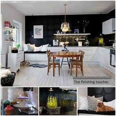 That little breakfast nook bench is my favorite. Love the white & black mix.