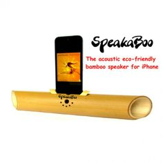 SpeakaBoo- Acoustic bamboo speaker for iPhone. Eco-friendly unique ideal green Christmas gift. Natural finish handcrafted amplifier dock accessory.