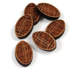 Laser Cut Supplies-8 Pieces.Football Charms - Laser Cut Wood Football -Earring Supplies- Little Laser Lab Sustainable Wood Products