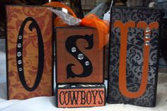 OSU Oklahoma State University Cowboys 2x4 Block Set, Orange and Black